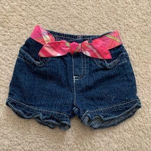 Other - EUC jeans shorts w/pink cloth belt/stitching 12M